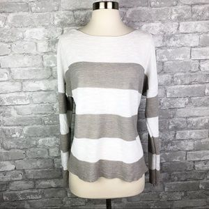 Eileen Fisher White & Gray Striped Light Sweater S